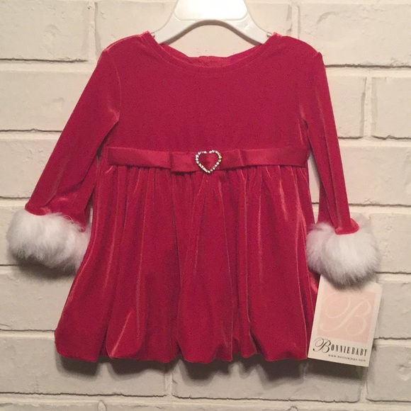 bonnie baby christmas holiday dress sz 3 6 months